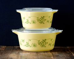 Pyrex Shenandoah pair of 473 and 474 round by ThatRetroPiece