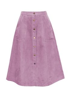 Heather Lilac Button Front Midi Skirt