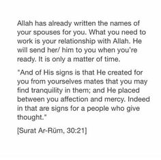 Allah will send him to me, when im ready