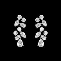 0c6a78430 Affordable Elegance Bridal - Multi Cut CZ Drop Wedding Earrings in Silver,  Gold, Rose