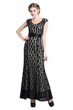Denovelty Chantilly Lace Women's Evening Gown Formal Prom Maxi Long Party Dress *** Continue to the product at the image link. (This is an affiliate link and I receive a commission for the sales)