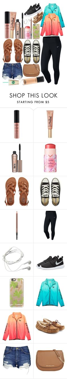 """My favorites rn!!"" by lovemyariana ❤ liked on Polyvore featuring NYX, Too Faced Cosmetics, Benefit, tarte, Billabong, Converse, MAC Cosmetics, NIKE, Samsung and Casetify"
