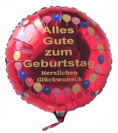 Luftballon aus Folie zum Geburtstag, Herzlichen Glückwunsch, Alles Gute zum Geburtstag, Rundballon Balloons mit Ballongas-Helium
