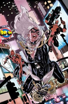 Amazing Spider-Man Marvel Comics, featuring Spidey, Black Cat and Deadpool. See the making of the cover art at my blo. Marvel Dc Comics, Marvel Vs, Comics Anime, Marvel Girls, Comics Girls, Marvel Heroes, Spiderman Black Cat, Black Cat Marvel, Amazing Spiderman