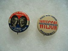 2 Woodrow Wilson Political Campaign Pin Badge Button No.6