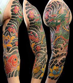 Japanese, sleeve tattoo on TattooChief.com