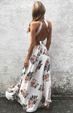 White maxi dress side split house