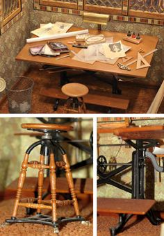 Miniature drafting table by William Robertson. From the Mini Time Machine Museum of Miniatures.