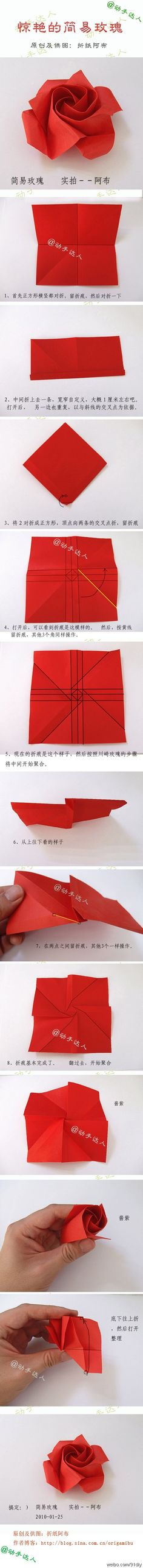 Origami Easy Rose Folding Instructions