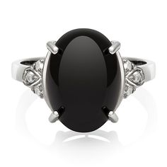 Black Onyx & Lab-Created White Sapphire Ring in Sterling Silver - 2192391