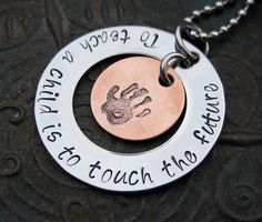 Hand Stamped Jewelry Teacher Necklace. Made with Bridgette metal letter stamps and hand print design stamp.