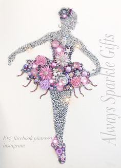 Beautiful Dancing ballerina button art / mixed media Sparkling shades of pink, lilac and lavender. Girls decor
