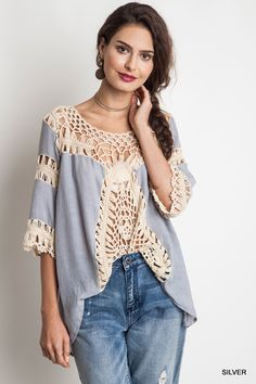 Boho Chic Tunic Top Crocheted Lace Front Silver Blue