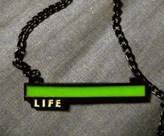 """Life Bar Necklace. """"People keep telling you to get a life, but now you can finally show them that they're idiots – you're already at full health with these geeky life bar necklaces that also glows in the dark!"""" #nerd #geek"""