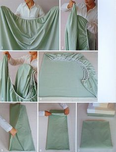 Best instructions for how to fold the fitted sheets. It works I've been doing it for years!