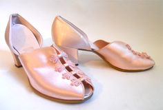 1940s pink satin low heeled Daniel Green boudoir slippers, personal collection