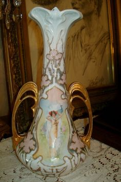 Prussia Large Vase Lady with Peacock Portrait