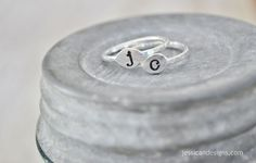 Fine Silver Stacking Initial Ring  Hand Stamped by jessicaNdesigns, $24.00