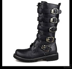 6da6072ddc8 Motorcycle Boots Men Punk Martin PU Leather Boots Moto Steampunk Boots Belt  Buckle Military Boots Mid-calf Shoes Protective Gear