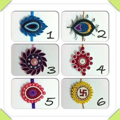 Rakhi designs, but I believe these can be modified for earrings too Paper Quilling Earrings, Quilling Work, Quilling Craft, Quilling Flowers, Quilling Patterns, Quilling Designs, Quilling Ideas, Diy Origami, Origami Paper