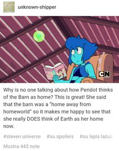 """Am I the only one who teared at this part? Because of how adorable Peri's face was and how she call the barn """"home"""" now?"""
