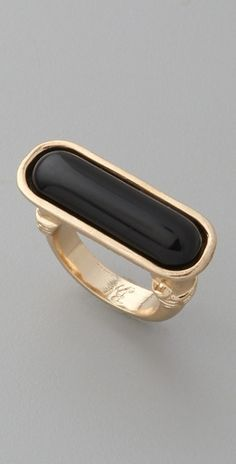 #Belle Noel, Egyptian Ring, $38.  Polished glass stone, gold-plated setting.  It's a horizontal take on my favorite onyx ring.