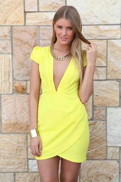 Yellow Plunge Capped Sleeve Dress with Wrap Skirt, Dress, yellow plunge pleat skirt bodycon, Chic Online Fashion Boutique, Womens Fashion Online, Dress Skirt, Dress Up, Bodycon Dress, Short Sleeve Dresses, Dresses With Sleeves, Fitted Dresses, Pretty Outfits
