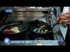 Salteado de Vieiras con Carabineros en el Restaurante Becerrita. Sevilla