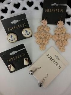 Lot of 4 Forever 21 flower, crystal, ship anchor & vintage look pierced earrings  | eBay