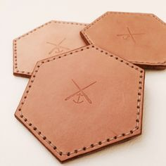 Leather coaster set of 4 pieces by Anchorgoods on Etsy