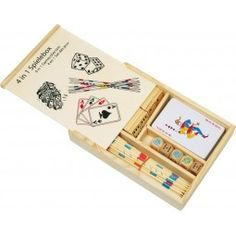 Enjoy 4 classic games in 1 handy wooden box including: dominoes, pick up sticks, pack of playing cards and dice.