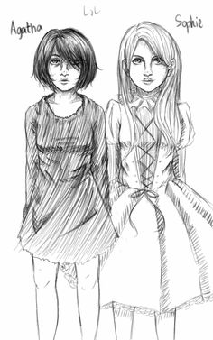 Uncolored messy sketch of Sofie and Agatha by Louise