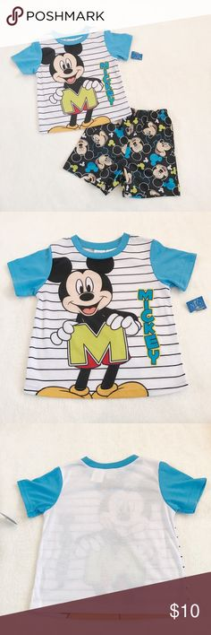 NWT Mickey Mouse short sleeve / shorts PJ set 5T NWT Mickey Mouse short sleeve shirt + print shorts sleep set pajamas size 5T / too cute and lightweight material is perfect for summer nights ❤ Pajamas Pajama Sets
