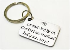 New Father Keychain with Baby Name and Birthdate  by missmoodykids, $25.00