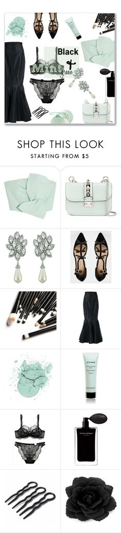"""""""Black & Mint Green"""" by caitlin-maloney-stayt ❤ liked on Polyvore featuring Delpozo, Valentino, Ciner, River Island, Alessandra Rich, Givenchy, Narciso Rodriguez, black and mintgreen"""