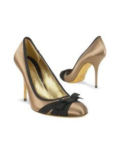 Black Bow Taupe Satin And Leather Pump Shoes by Forzieri $285.00