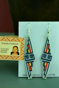 Navajo Sterling Silver Beaded Water Symbol Earrings by Deandra Goldtooth Aztec Earrings, Beaded Earrings Native, Seed Bead Earrings, Unique Earrings, Beaded Jewelry, Shell Earrings, Star Earrings, Seed Beads, Native Beading Patterns