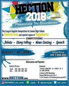 #InfoLomba #Lomba #HECTION2018 #English #Competition #Polines #Semarang HECTION 2018 High School English Competition  EVENT: 17th-18th of March 2018  http://infosayembara.com/info-lomba.php?judul=hection-2018-high-school-english-competition