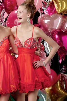 Spaghetti Strap Mini Red Chiffon A Line Homecoming Dress