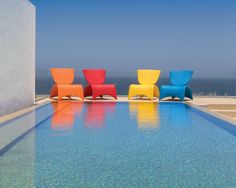 Looking to add a pop of color for your residents to enjoy while relaxing poolside? Look no further than our stackable, nestable Zuma collection which is available in a variety of hues. Outdoor Furniture Inspiration, Furniture Collection, Contemporary Design, Color Pop, Relax, Outdoor Decor, Home Decor, Colour Pop, Decoration Home