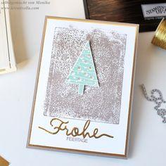 Clean and simple Weihnachtskarte   Goldfolie   Thinlits weihnachtliche Worte   Christbaumfestival   Acrylblock   Stampin' Up! Herbst- /Winterkatalog 2015