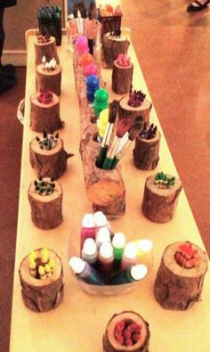 Natural pencil holder - idea to re-pupose all those tea lights from the wedding?