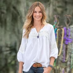 """TENLEY BLOUSE--Our blouse charms with lace details that rise and fall from the bodice to the billowy sleeves. Cotton voile. Machine wash. Imported. Exclusive. Sizes XS (2), S (4 to 6), M (8 to 10), L (12 to 14), XL (16). Approx. 26""""L."""