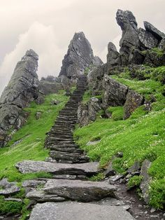 Stairs leading to Skellig Michael Monastery, Ireland.
