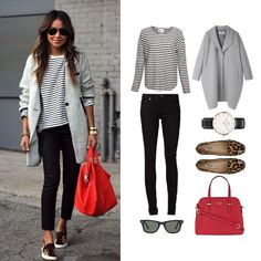 For a great casual and comfortable look at the office, pair black skinny jeans with a vertical stripe shirt,a large colorful red tote bag, shades, and animal cheetah print shoes for a toss up.