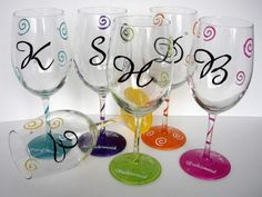 hand painted glasses - for the beach house.  Our own personalized glass for the copious amount of wine we drink there :-)