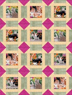 This quilt kit is perfect for the cat lover. Love these fussy cut pretty kitties in the flower garden. A beautiful pink, green and soft yellow complete the fabrics in this cute cat pre-cut quilt kit.