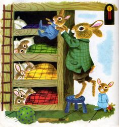 Illustration by Richard Scarry from When Bunny Grows Up. The baby bunny wants to grow up to be a daddy. So sweet.