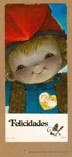 Whimsical Christmas, Vintage Christmas Cards, Vintage Cards, Catholic Kids, Beauty Illustration, Holy Night, Cute Dolls, Fun Prints, Vintage Children