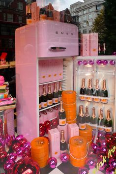 My two favourite things - Bubbly and pink Smeg. If I had a Pink Smeg fridge it would totally look like this when you opened it.      Isn't it nice to dream?